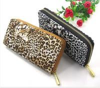 Leopard Print PU Leather Zipper Lady Purse Women  Long Clutch Wallet