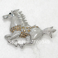 Wholesale 12piece/lot Light Topaz Crystal Rhinestone Enameling Running Horse Pin Brooch jewelry gift C913 G1