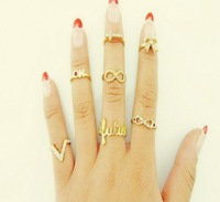 Free Shipping(42pcs/lot), New 2013 PUNK Wholesale Alloy Gold Plated cross/bowknot Rivets & Hand Mid Finger Rings/Joint Ring Sets