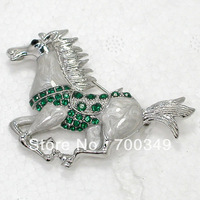 Wholesale 12piece/lot Emerald Crystal Rhinestone Enameling Running Horse Pin Brooch jewelry gift C913 M