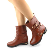 Genuine leather single boots spring and autumn medium-leg boots flat heel boots comfortable wear-resistant rubber sole boots