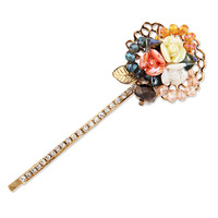 Tsful hair accessory diamond crystal cutout flower side-knotted clip bangs clip gold plated hair stick