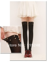 HOT New Style Lady Tights With Bright Gold Rivet  Fashion Women Tights Skin up Black Down Free Size Free Shipping Tights