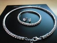 Wholesale women gemstone crystal wedding jewelry sets (24 sets/lot) Crystal Sets (Necklace + Bracelet + Earring) Free Shipping