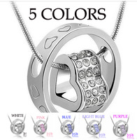 Free Shipping 5 Colors 100% Crystal Pendant Heart Necklace Good Quality Best Christmas Gift!