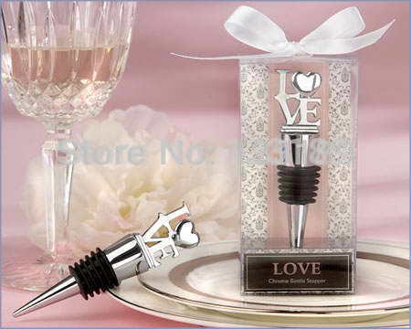 Free shipping 100pcs/lot Letter LOVE Bottle Stopper Valentine's Day gifts and Wedding party favours Bridal Shower Gifts(China (Mainland))