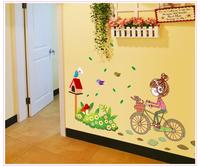 Free shipping removable riding bike girl kids door wall decor sticker PVC stickers poster wallpaper art decal 80cm*120cm 7085