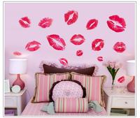 Free shipping removable lipstick lip print kiss cup wall decor sticker PVC stickers poster wallpaper art decal 76cm*95cm 7086