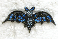 Wholesale 12piece/lot Blue Crystal Brooches Rhinestone Bats Pin Brooch Fashion jewelry gift C003 B4