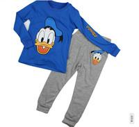 Free shipping wholesale 2013 autumn children clothing set Korean boy's casual cartoon Donald Duck printing t-shirt+pant 2pcs/set