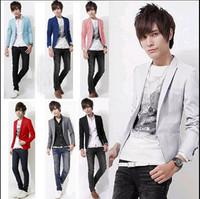 Promotion!Male 2013 autumn blazer men's clothing outerwear blazer male slim formal thin suits 7 color M~XXXL