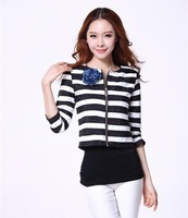 2014 spring autumn slim striped brooch women's small suit jacket WC0293