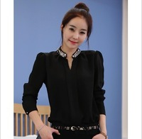 2013 autumn plus size clothing beaded long-sleeve shirt slim fashion female black shirt chiffon shirt