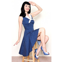 New Elegant Fashion 50s hepburn vintage slim sailor collar preppy style one-piece dress expansion free shipping