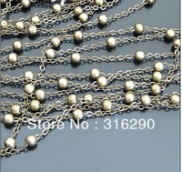5meters 4MmM Metal Jewelry Link Necklace Chains  with ball  Copper Antique Bronze Chain jewelry fingdings