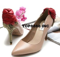 Freeshipping Best Selling Genuine Leather Women Lady Wedding Shoes Sexy Bridal Pumps High Heels Floral Design Footwears ML1226