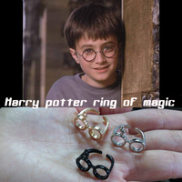 [No minimum] Free shipping 1pcs Harry Potter Ring Harry Potter Jewelry Gold Plated Adjustable Glasses Lightning Scar Gift ring