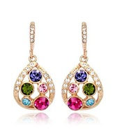 High Quality fashion rainbow crystal drop earrings accessories 2013 new jewelry wholesale earring for women brand