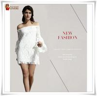 Brand Eu style wholesale Lace slash neck Srping summer autume winter Flare long sleeve Fashion Sheath sleeve Free shipping dress