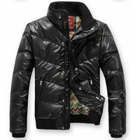 HAN008Men Down Jacket Winter Stand collar coat M~3XL PU Down Coat