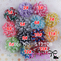 10pcs/lot 13 colors waves printed chiffon headdress flower corsage free shipping B112