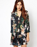 New 201312 Brand Design Women's Black Vintage Floral Print One piece Shirt Dress Dress Ladies outwear