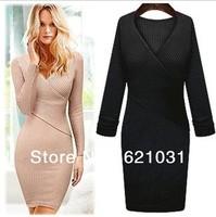 New 2013 Women's Autumn&Winter Fashin Long Sleeve Slim Hip Basic Vintage Sweater Dress Elastic Bodycon Dress Pencil Sexy Dress