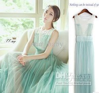 Wholesale - Green Sequins Gauze Ruffle Women Long Dress Mint Veil Ruffles Dress Ladies Round Neck Sleeveless Dresses 7998