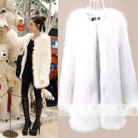 free shipping 2013 thickening fur coat medium-long overcoat white fur coat plus cotton