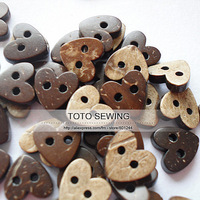 Min.order is $12 (mix order),dark brown love heart shaped sewing coconut button,size10*11MM,100pcs/lot,T2019466,freeshipping