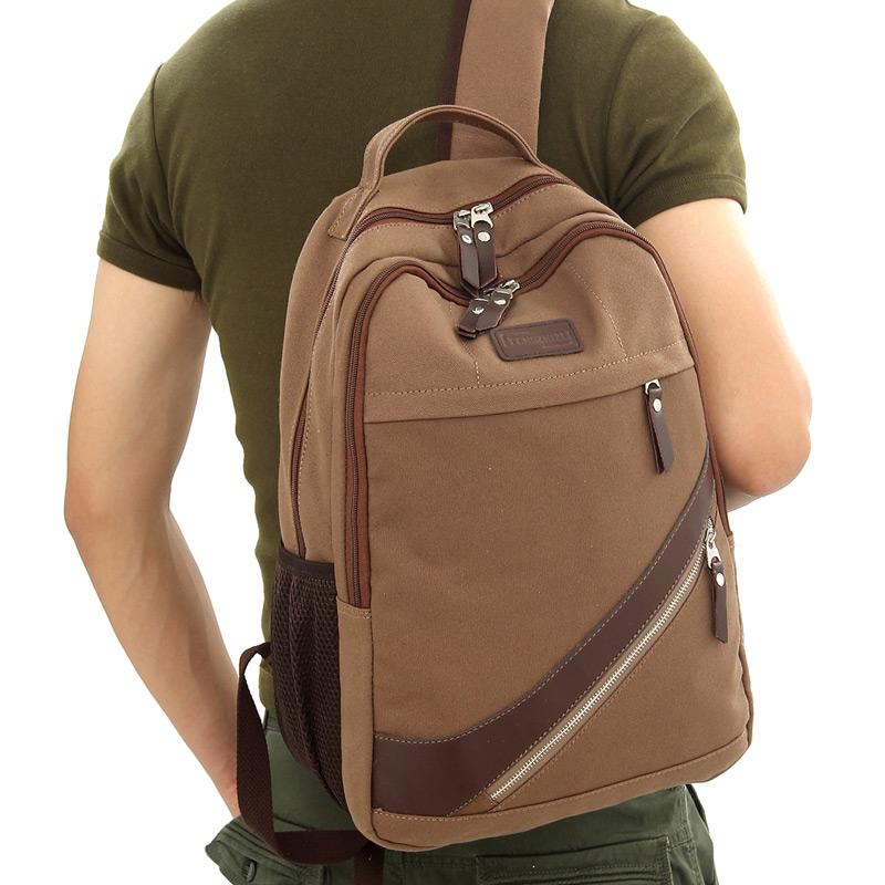 men canvas laptop backpack travel duffel bag vintage packbag free shipping(China (Mainland))