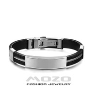 Free Shipping Wholesale HOT Sale Fashion jewelry 316L Stainless Steel streamline Men Bracelet Silicone Bracelets Bangles TY973
