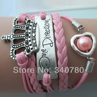 Gift for her bracelet,crown,one direction medal charms,pearl in hollow heart,pink Leather Cords  bracelet free shipping FBY0071
