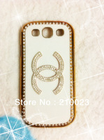 Christmas Gift 1PCS Luxury 3D Flower Bling Crystal Diamond Rhinestone Leather Back Case Cover for samsung I9300 Galaxy S III S3