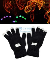 New Arrival Novelty LED Rave Flashing Gloves Glow 7 Mode Light Up Finger Lighting Black TK1142