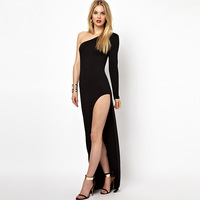 201312  women's fashion one shoulder off Side Split long-sleeve  one-piece long dress floor dress Maxi dresses
