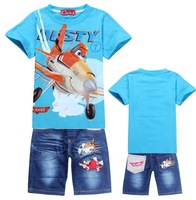 Newest arrival DUSTY PLANE 2014 Summer baby kids Children Clothing sets Sport Sweatshirt +Jeans clothes suits boys girls sets
