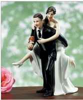 Playful Football Wedding Couple Figurine funny wedding cake toppers