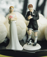 2014 Soccer Player Couple funny Cake Topper Sport wedding party favors