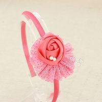 Baby girl chiffon dot ballerina blossom scalloped with satin silk rose flower hairband Baby headbands hair accessories 30pcs/lot