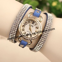 50pcs/lot,Big rhinestone  leather wristwatch,hot sale fashion leather rectangle watch,fashion woman dress quartz watch.