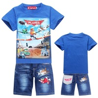 HOT SALE DUSTY PLANE New 2014 baby boy kids Clothing sets Sport Sweatshirt +Jeans clothes Children suits boys girls sets