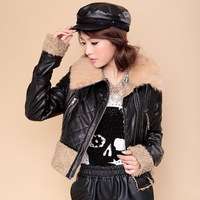 2013 autumn and winter collar fur collar short design slim leather jacket leather clothing berber fleece bz14