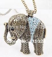 Free Shipping 3pcs/Lot New Fashion Blue Rhinestone Lucky Elephant Necklace Pendant Size: 5.5cmx5cm 2013281133