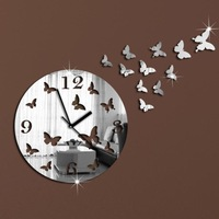 Novelty DIY Wall Clock Modern Design Mirror Wall Clock 3D Crystal Mirror Wall Clocks 11 Butterflies Free Shipping