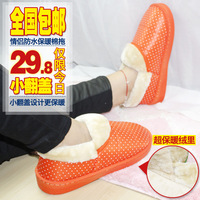 Cotton-padded package with slippers waterproof home indoor slippers lovers platform thermal cotton-padded shoes