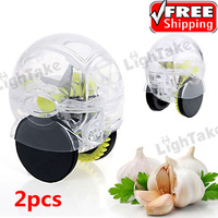 2pcs Magic Garlic Press Easy Garlic Crusher Pepper Lemon Vegetable Twist Mincer Machine Kitchen Tool Set