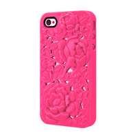 1PCS Free Shipping, For Iphone4 4S  Embossment and Hollow Out Case, 3D Rose Protective Case Back Cover Shell for Apple 4 4S