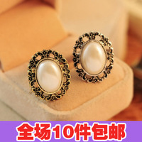 0825 small accessories fashion vintage big pearl cutout laciness gem ring finger ring female