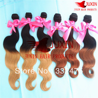Ombre two Tone Peruvian Virgin Hair Extension 6A+ quality #1b/#27 Human Hair Body Wave 16-22in  4 pcs lot free shipping
